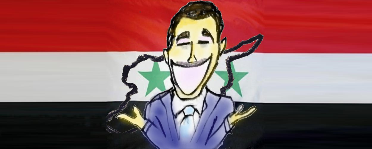 Bashar al Assad with moustache