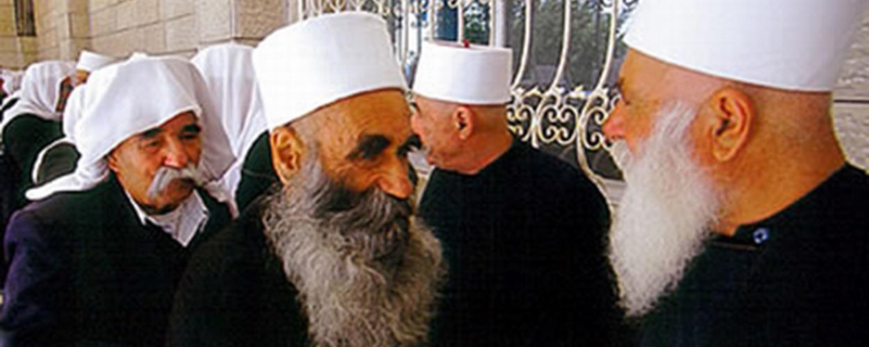 Druze sheikhs (Al Aqal) with white lap and black dress